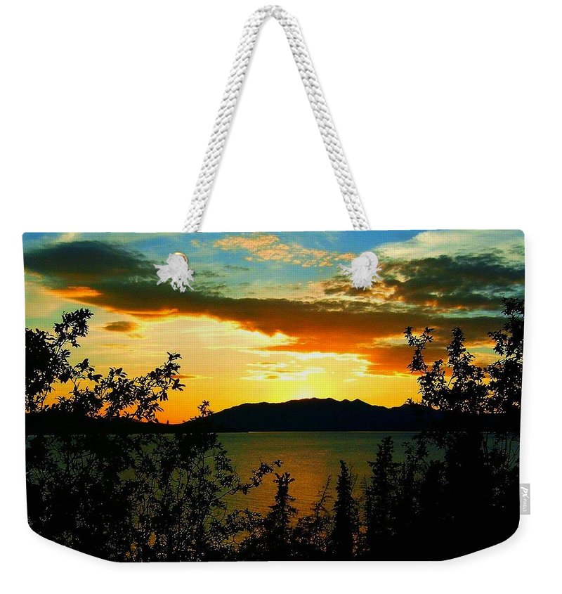 North America Weekender Tote Bag featuring the photograph Marsh Lake - Yukon by Juergen Weiss