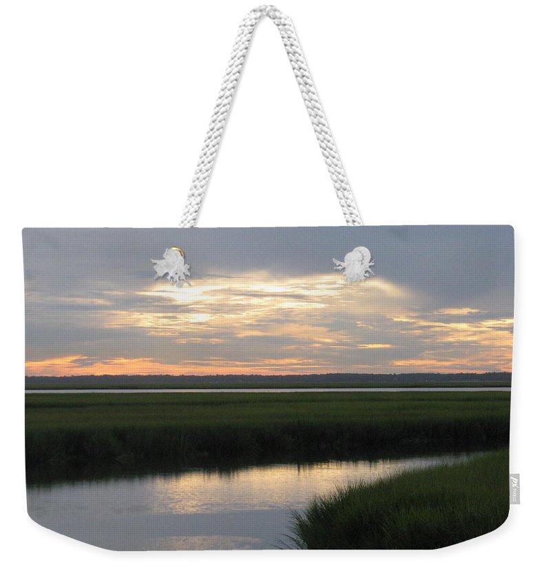 Marsh Weekender Tote Bag featuring the photograph Marsh Sunset 3 by Ellen Meakin