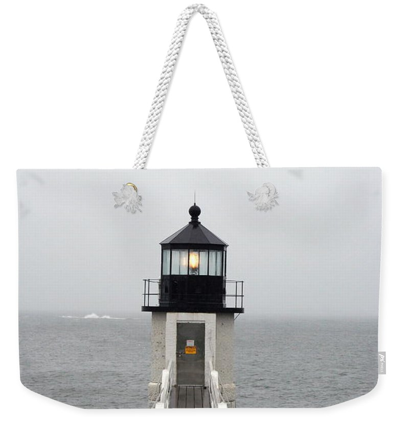 Lighthouse Weekender Tote Bag featuring the photograph Marshall Point Light On A Foggy Day by Christiane Schulze Art And Photography