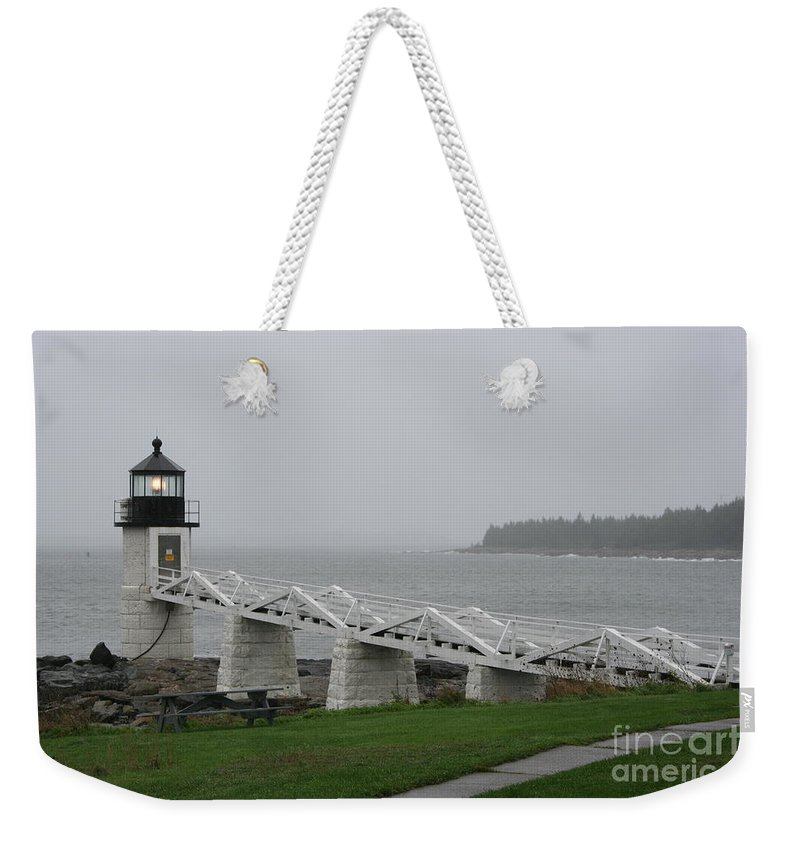 Lighthouse Weekender Tote Bag featuring the photograph Marshall Point Light Station - Maine by Christiane Schulze Art And Photography