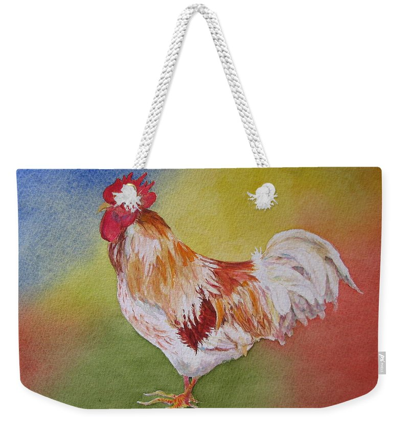Watercolor Weekender Tote Bag featuring the painting Marshmallow by Mary Ellen Mueller Legault