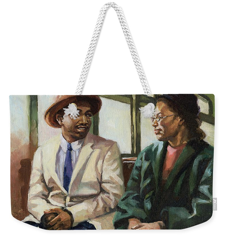 Civil Rights Weekender Tote Bag featuring the painting Martin And Rosa Up Front by Colin Bootman