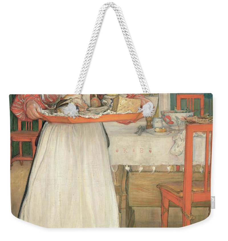 Maid Weekender Tote Bag featuring the painting Martina Carrying Breakfast On A Tray by Carl Larsson