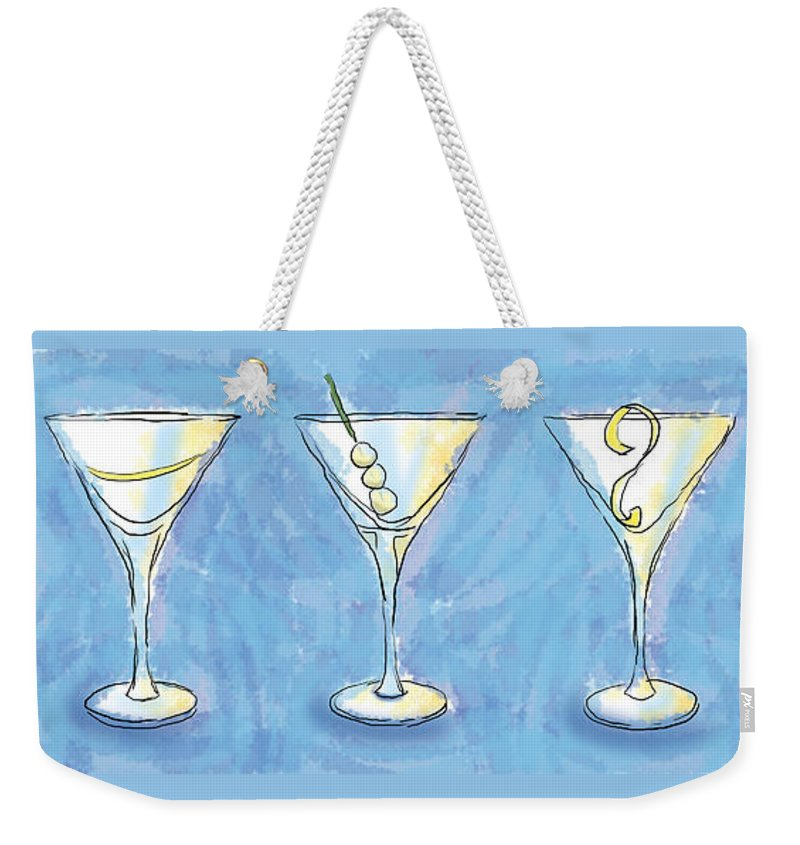 Cocktail Weekender Tote Bag featuring the painting Martini Lunch by Alison Stein