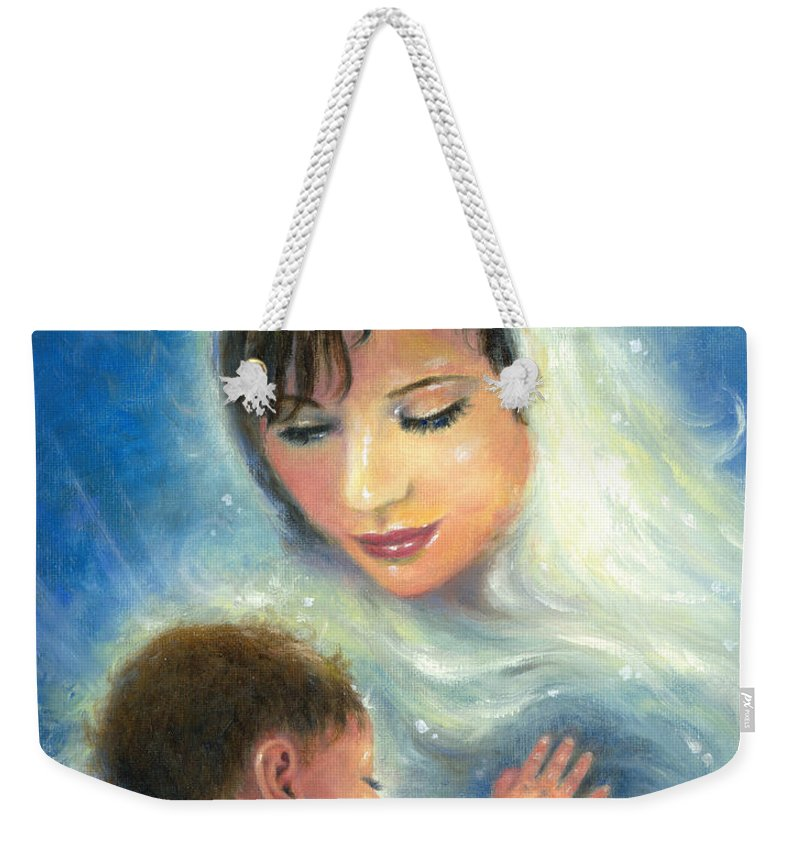 Virgin Mary Weekender Tote Bag featuring the painting Mary And Baby Jesus by Vickie Wade