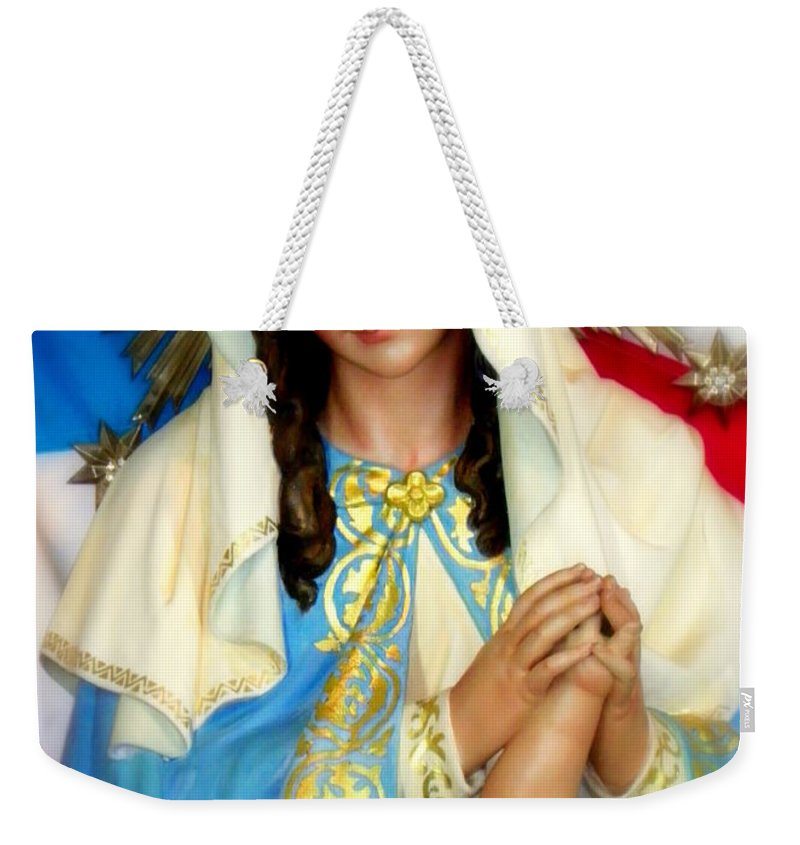 Christmas Cards Weekender Tote Bag featuring the photograph Mother Mary by Karen Wiles
