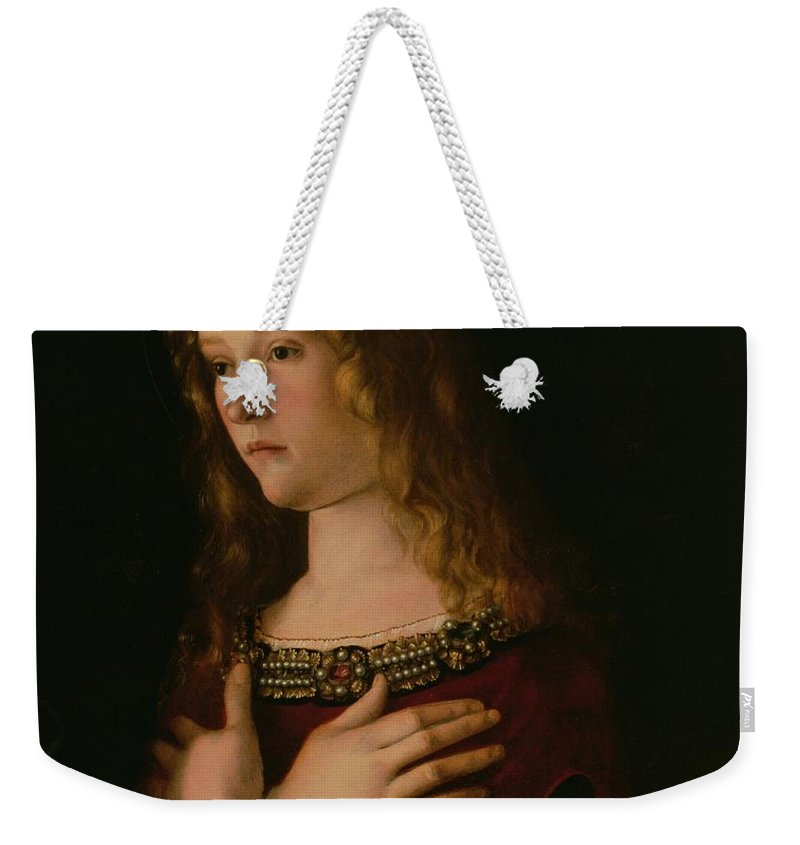 Renaissance Weekender Tote Bag featuring the painting Mary Magdalene by Giovanni Bellini