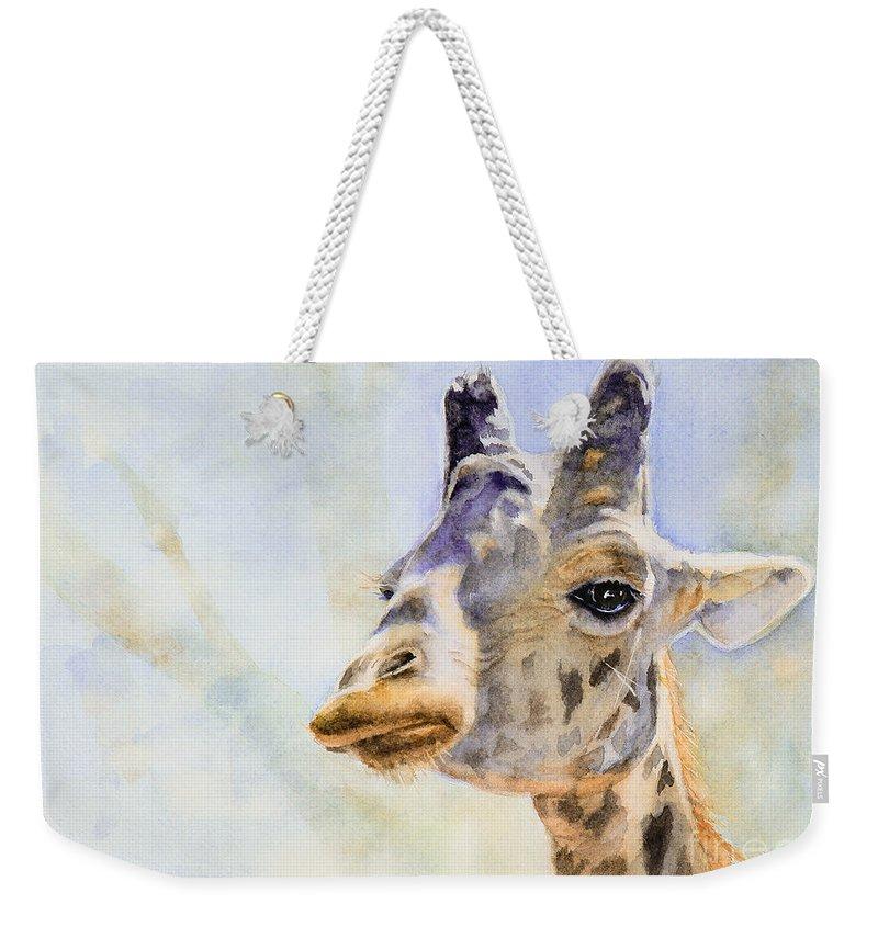 Giraffe Weekender Tote Bag featuring the painting Masai Giraffe by Bonnie Rinier