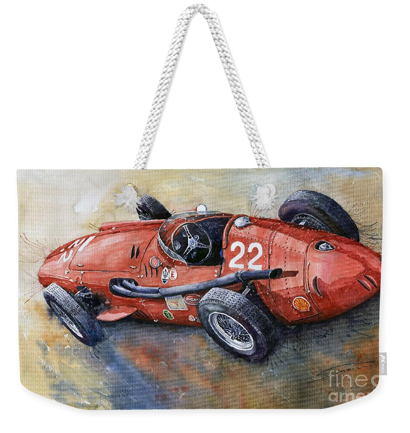 Classic Car Weekender Tote Bag featuring the painting Maserati 250 F 1957 by Yuriy Shevchuk