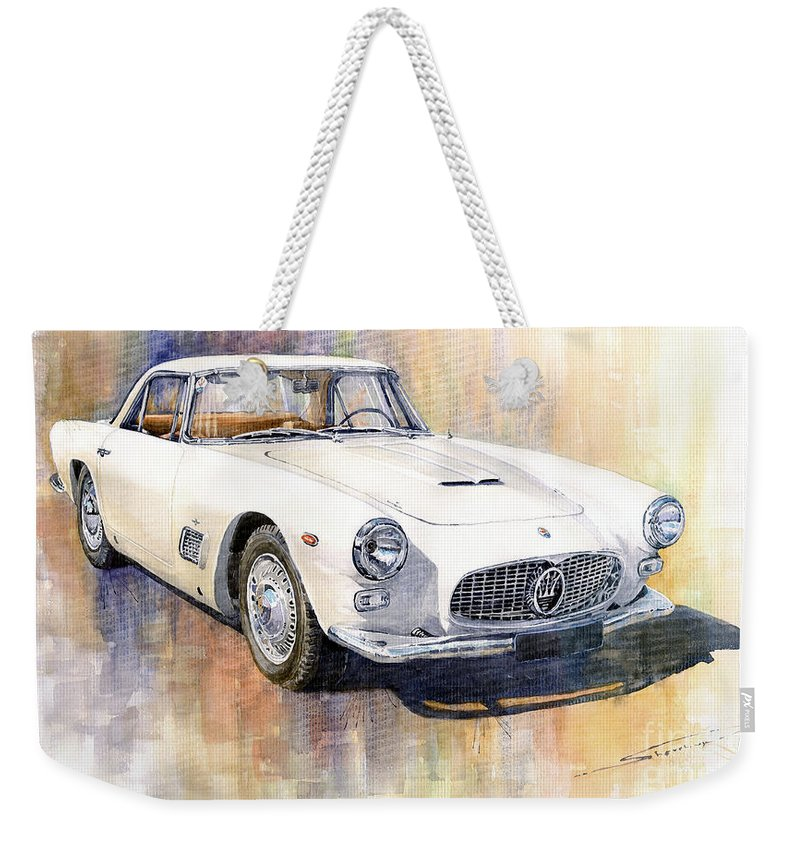 Automotive Weekender Tote Bag featuring the painting Maserati 3500GT Coupe by Yuriy Shevchuk