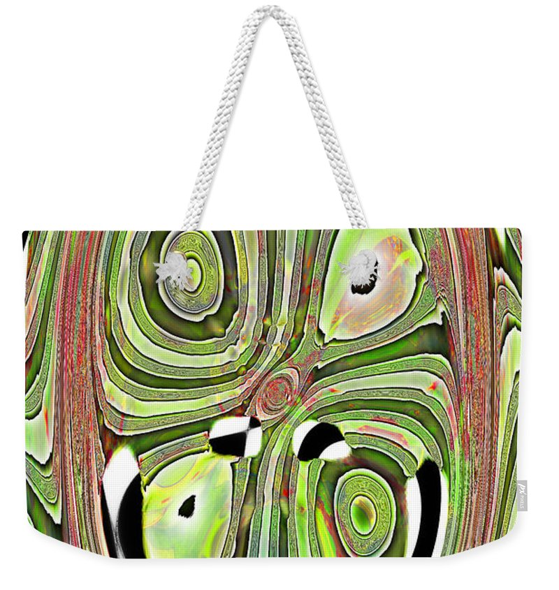 Abstract Weekender Tote Bag featuring the digital art Mask 10 Curled Up by Jack Bowman
