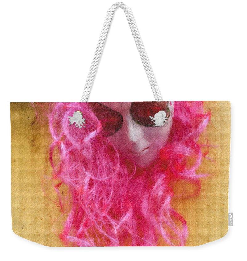 Mask Weekender Tote Bag featuring the digital art Mask Pastel Chalk 2 by David Lange