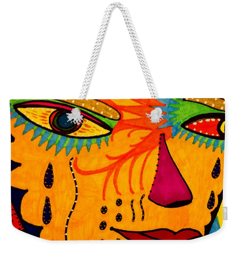 Mask Weekender Tote Bag featuring the painting Masks We Wear - Face by Marie Jamieson