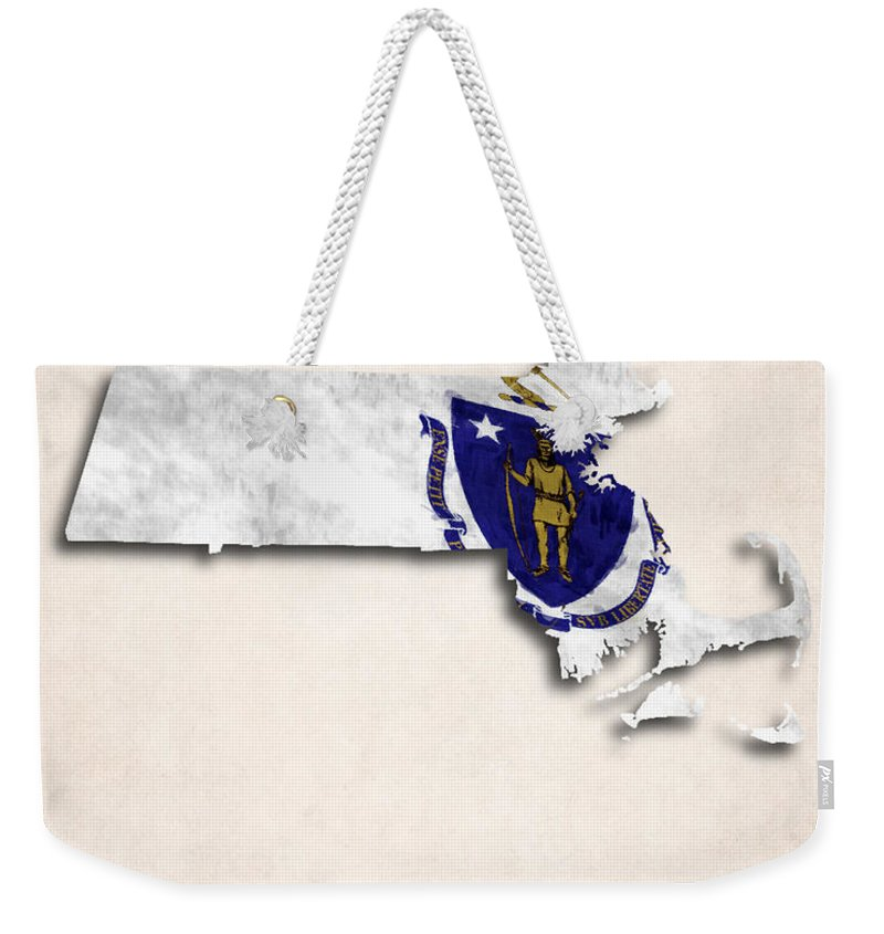 America Weekender Tote Bag featuring the digital art Massachusetts Map Art With Flag Design by World Art Prints And Designs
