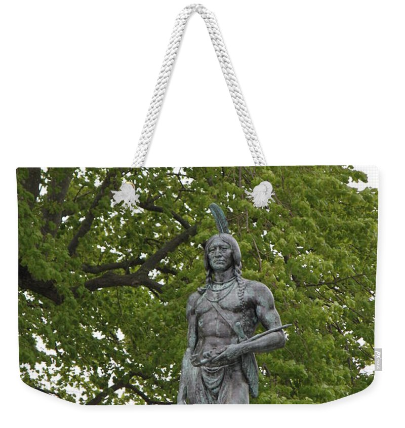 History Weekender Tote Bag featuring the photograph Massasoit Chief Of The Wampanoag Tribe by Jennifer E Doll
