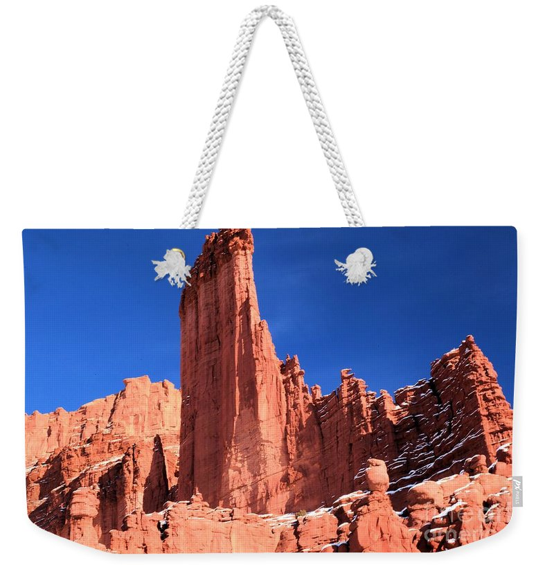 Fisher Towers Weekender Tote Bag featuring the photograph Massive Fisher Tower by Adam Jewell