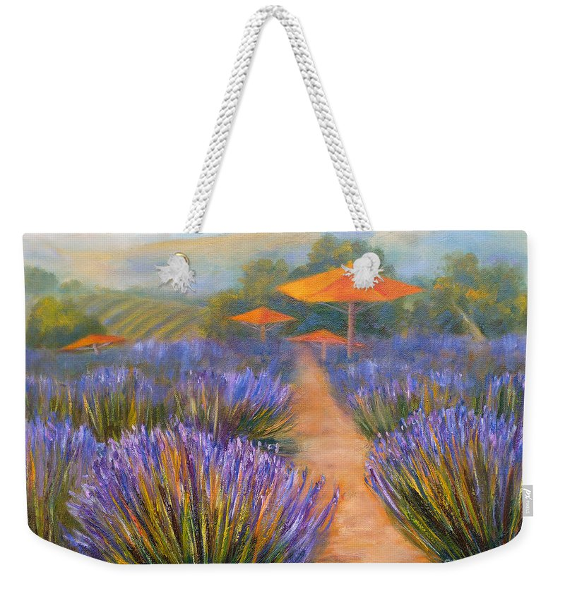 Grapes Weekender Tote Bag featuring the painting Matanzas Winery by Carolyn Jarvis
