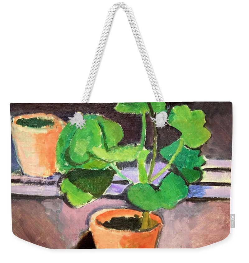 Pot Of Geraniums Weekender Tote Bag featuring the photograph Matisse's Pot Of Geraniums by Cora Wandel