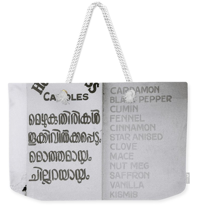 Worker Weekender Tote Bag featuring the photograph Mattancherry by Shaun Higson