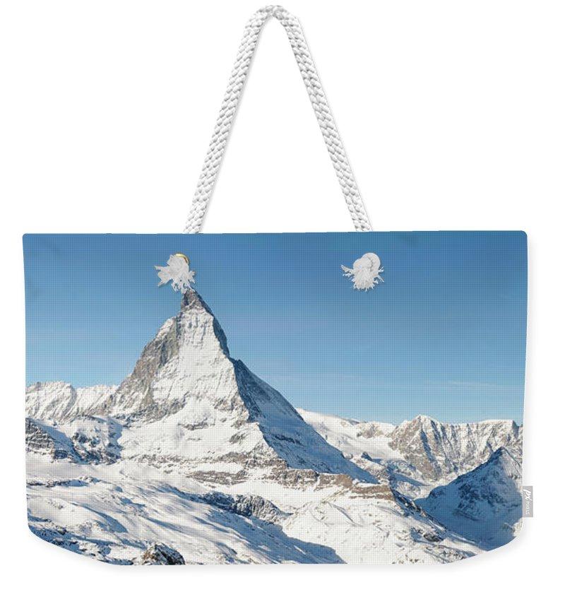 Scenics Weekender Tote Bag featuring the photograph Matterhorn Panorama by Georgeclerk