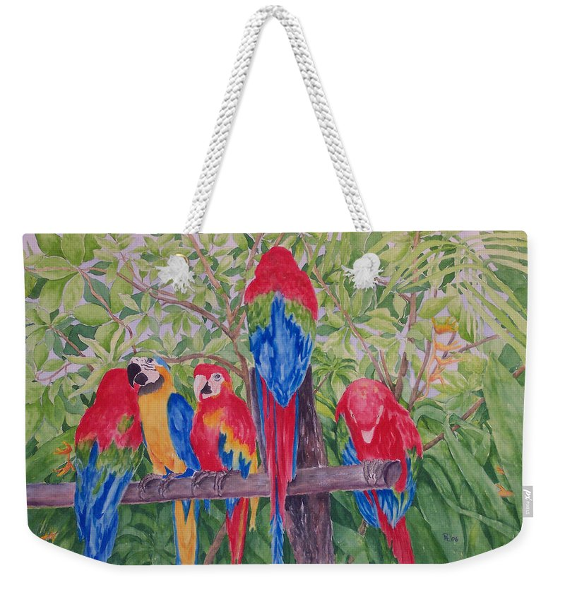 Macaw Weekender Tote Bag featuring the painting Maui Macaws by Rhonda Leonard