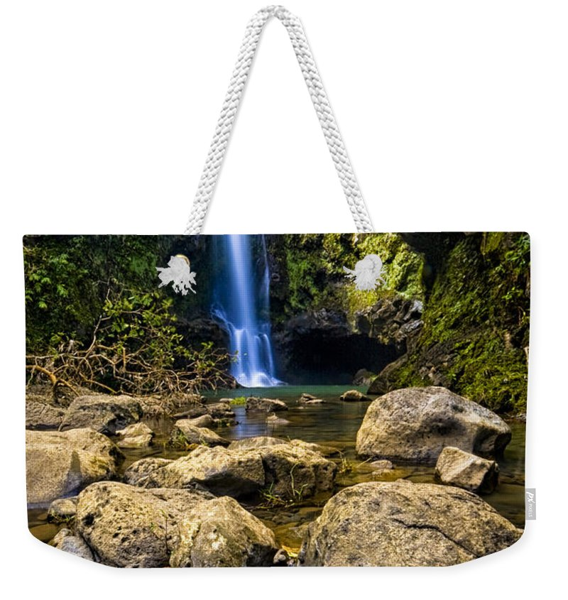 3scape Photos Weekender Tote Bag featuring the photograph Maui Waterfall by Adam Romanowicz