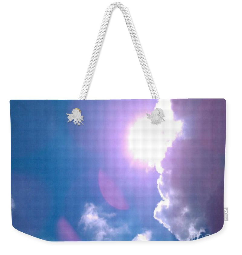 Sky Weekender Tote Bag featuring the photograph Maxfield Parrish Blue Clouds Over Lagrange by Charles M Williams