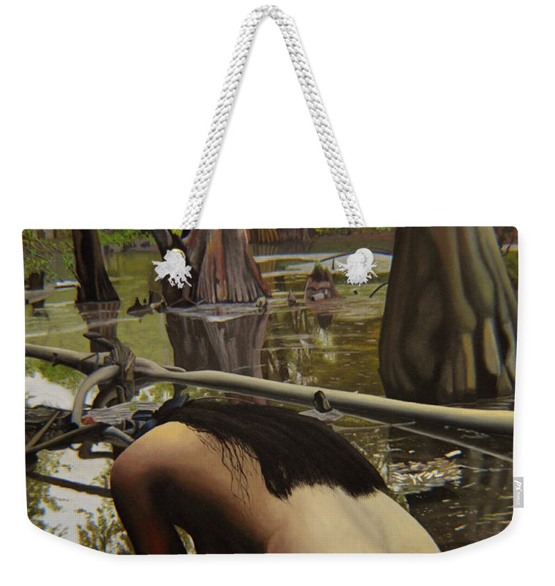 Nude Weekender Tote Bag featuring the painting May Morning Arkansas River 2 by Thu Nguyen