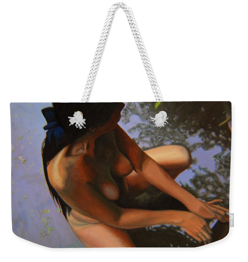 Figure Weekender Tote Bag featuring the painting May Morning Arkansas River by Thu Nguyen