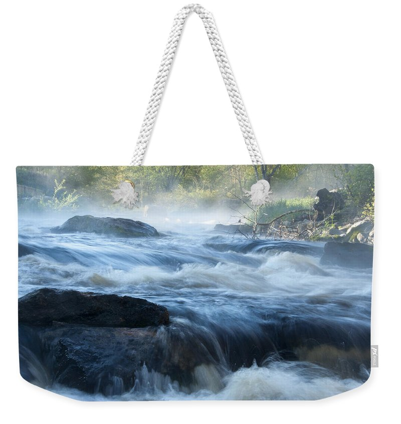 Pawcatuck Weekender Tote Bag featuring the photograph May Morning On The Pawcatuck by Steven Natanson