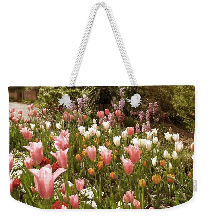 Seasonal Weekender Tote Bag featuring the photograph May Tulips by Jessica Jenney