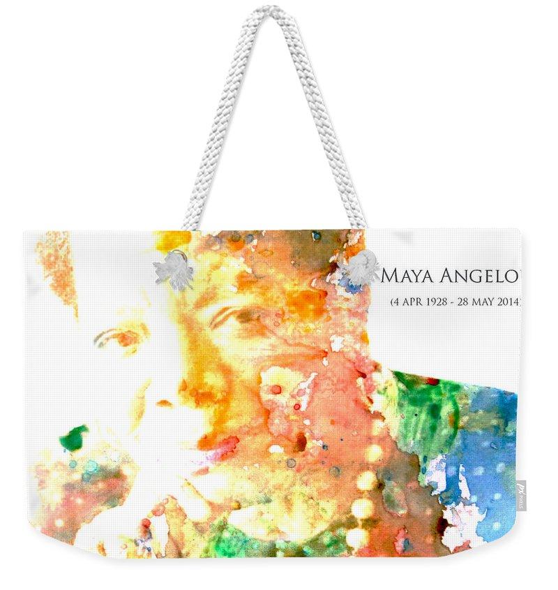 Maya Angelou Weekender Tote Bag featuring the digital art Maya Angelou 1 by Brian Reaves