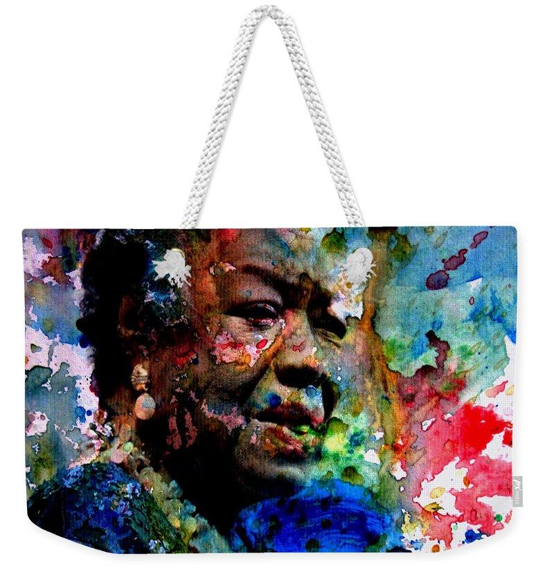 Maya Angelou Weekender Tote Bag featuring the digital art Maya Angelou Paint Splash by Brian Reaves