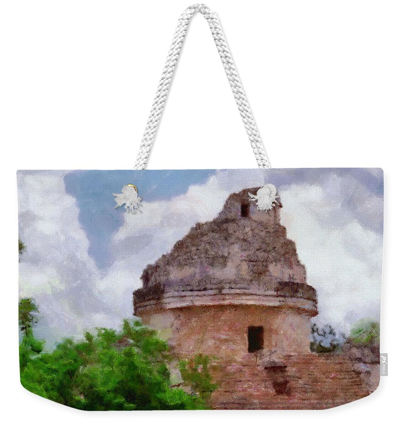 Yucatan Weekender Tote Bag featuring the painting Mayan Observatory by Jeffrey Kolker