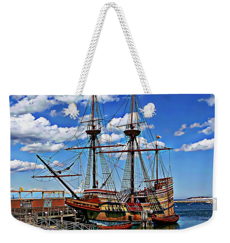 Massachusetts Weekender Tote Bag featuring the photograph Mayflower Exhibit by Anthony Dezenzio