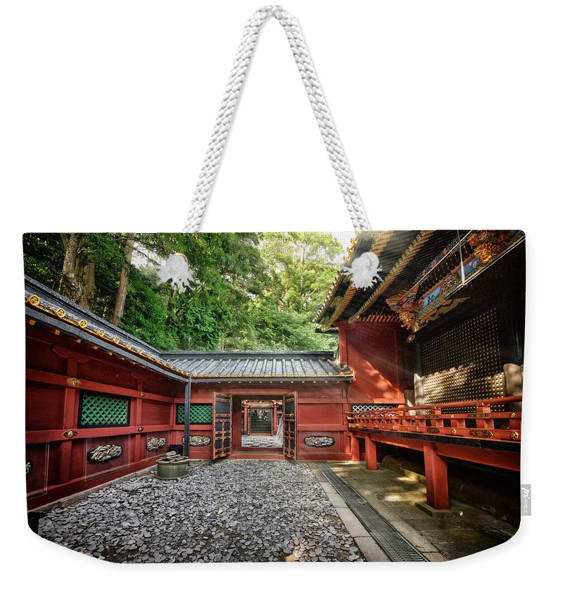 Temple Buddhism Asian Meditation Buddhist Religious Religion Culture Asia Buddha Travel Oriental Worship Old Art Gold Siam Prayer Pray Faith Statue Traditional Tradition Chinese Ancient Sculpture Spiritual Zen China Meditate Weekender Tote Bag featuring the photograph Maze Of Beauty by John Swartz