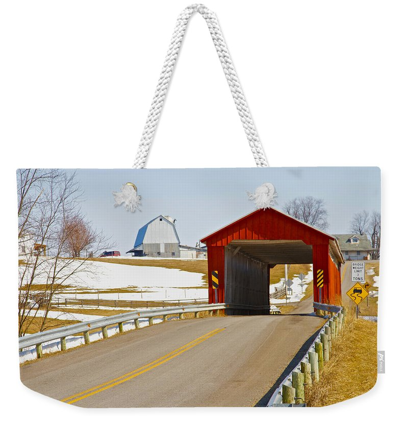 Ohio Weekender Tote Bag featuring the photograph Mccolly Covered Bridge by Jack R Perry