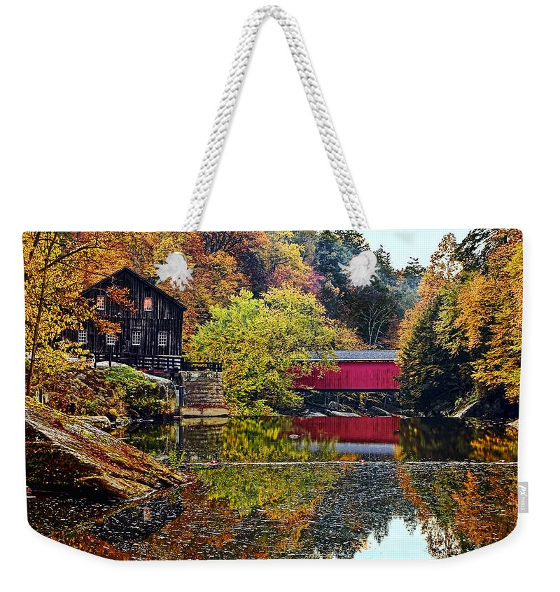 Landscape Weekender Tote Bag featuring the photograph Mcconnell's Mill And Covered Bridge by Marcia Colelli