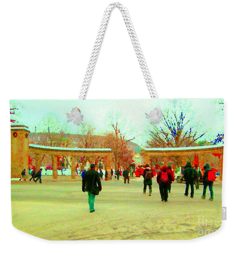 Weekender Tote Bag featuring the painting Mcgill Univ Students And Faculty College Campus Montreal Memories Collectible Art Prints C Spandau by Carole Spandau