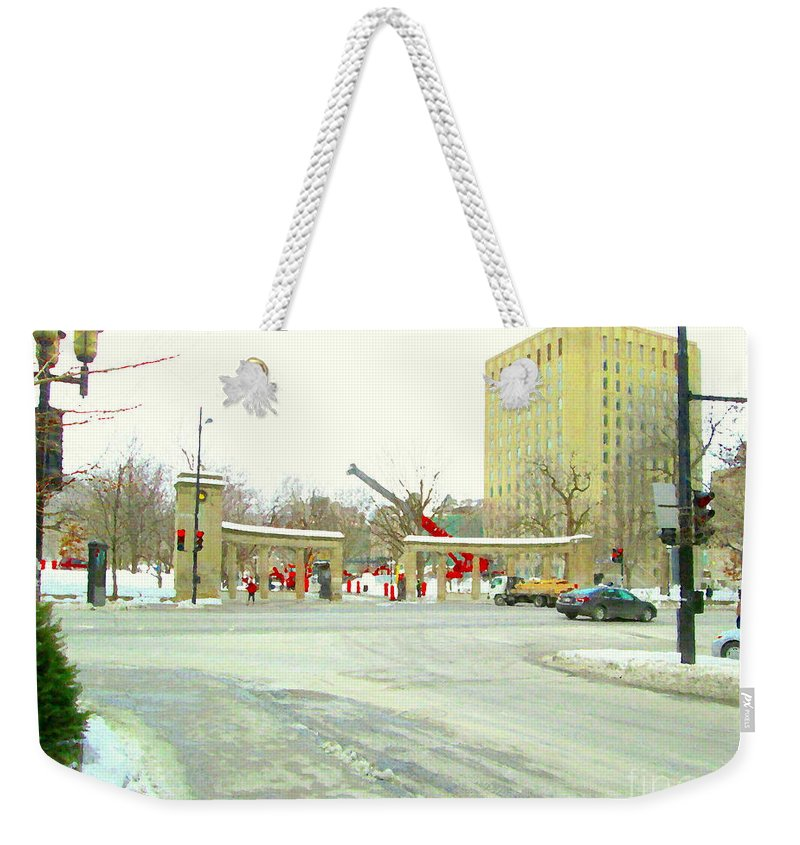 Mcgill University Weekender Tote Bag featuring the painting Mcgill University Campus Sherbrooke Street Scene Early Morning Winter Day Montreal Carole Spandau by Carole Spandau
