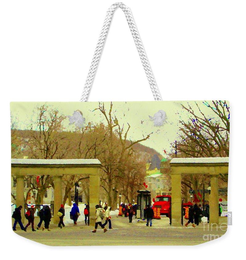 Mcgill University Weekender Tote Bag featuring the painting Mcgill University Roddick Gates Class Of 2013 Winter Semester Montreal Collectible Prints C Spandau by Carole Spandau