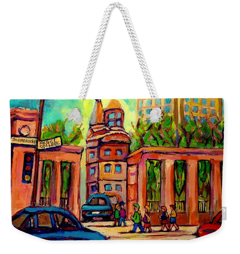 Mcgill University Weekender Tote Bag featuring the painting Mcgill University Roddick Gates Montreal by Carole Spandau