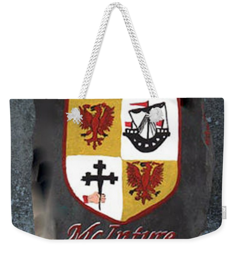 Family Shield Weekender Tote Bag featuring the painting Mcintyre Coat Of Arms by Barbara McDevitt
