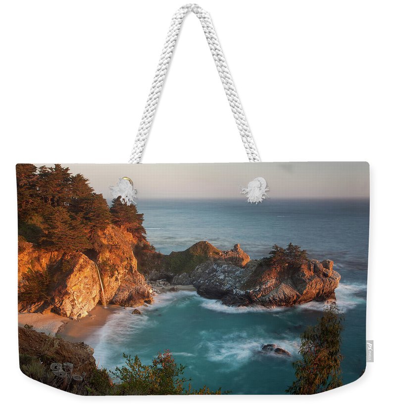 Scenics Weekender Tote Bag featuring the photograph Mcway Falls At Sunset by Sean Duan