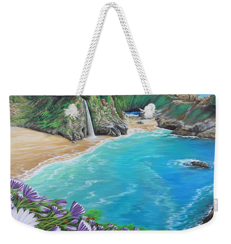 Beach Weekender Tote Bag featuring the painting Mcway Falls by Jane Girardot