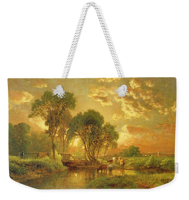 Inness Weekender Tote Bag featuring the painting Medfield Massachusetts by Inness