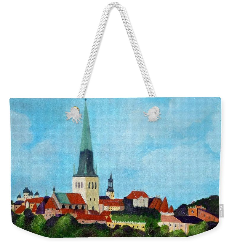 Tallinn Weekender Tote Bag featuring the painting Medieval Tallinn by Laurie Morgan