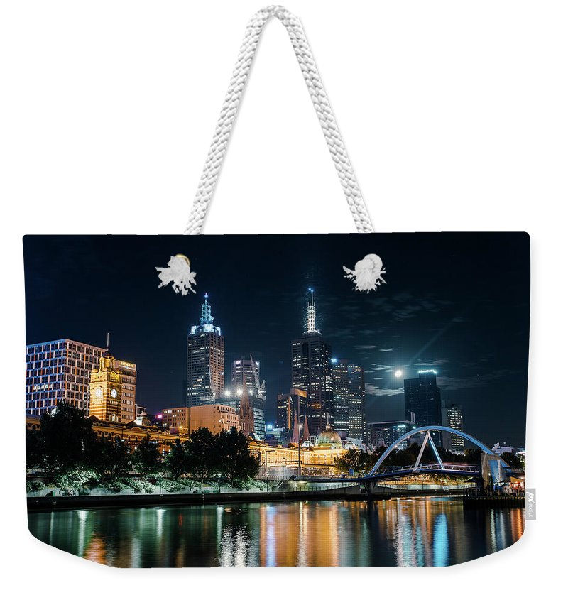 Clock Tower Weekender Tote Bag featuring the photograph Melbourne In Night by Kenji Lau