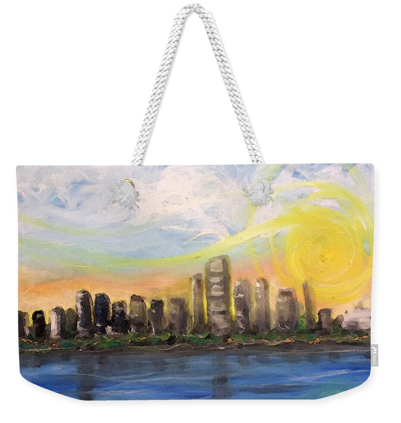 Miami Weekender Tote Bag featuring the painting Melisa's Sunrise by Jorge Delara