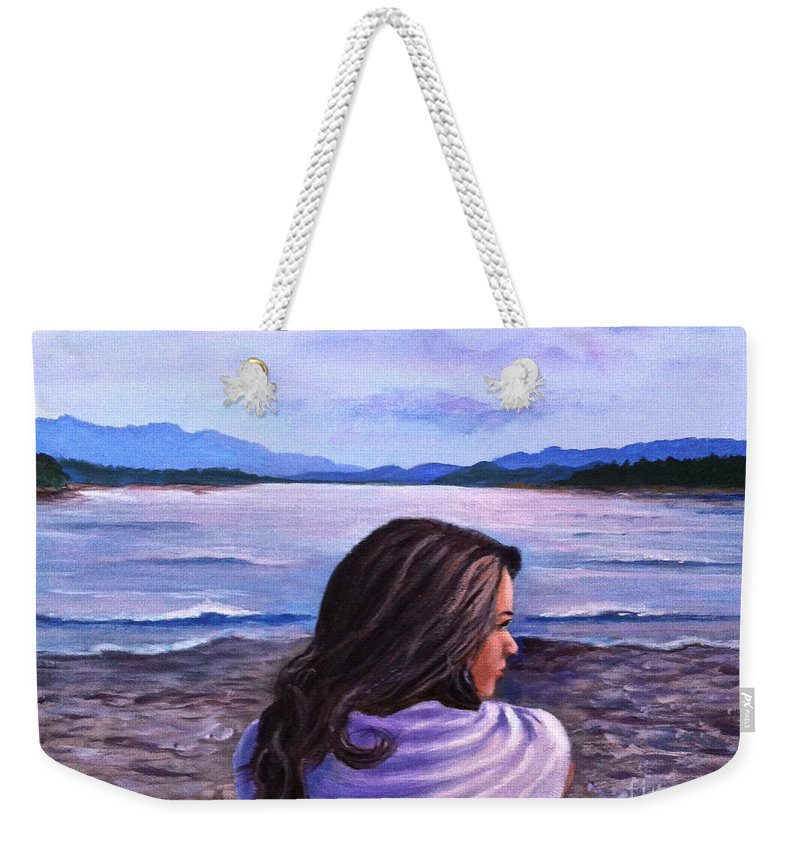 Girl Weekender Tote Bag featuring the painting Melissa by Bozena Zajaczkowska